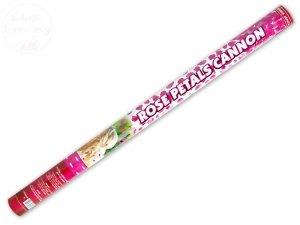 Tuba strzelająca różowymi płatkami róż 80cm