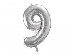 Balon foliowy  86 cm srebrny syfra 9
