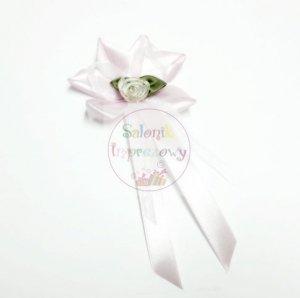 Drużbówka różowa z  białą różyczką 1szt