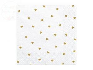 Serwetki białe w złote serduszkai 20 szt 33x33cm