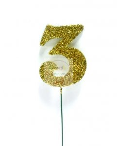 Ozdoba na druciku 3 złote - 1szt  5 x 6,5 cm