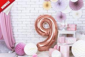Balon foliowy cyfra 9 różowe złoto - 86 cm