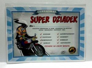 Certyfikat, dyplom dla SUPER DZIADEK MOTOCYKL