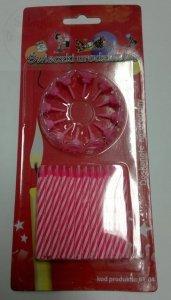 Świeczki urodzinowe 24szt + 12 podstawek różowe