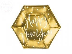 Talerzyk złote Happy New Year - 6szt