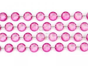 Girlanda kryształowa różowa długość 1m