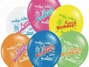 Balony 14cali mix kolor HAPPY BRITHDAY