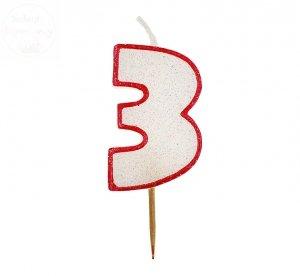 Świeczka cyferka 3 czerwony kontur z brokatem