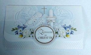 Zaproszenie na Chrzest Święty - 1szt błękitne