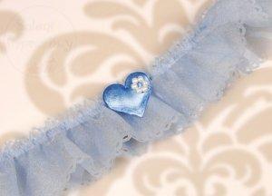 Podwiązka szyfon z serduszkiem i kwiatkiem PDW6-01