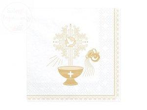 Serwetki 3-warstw 33x33cm Chrzest Święty - złote