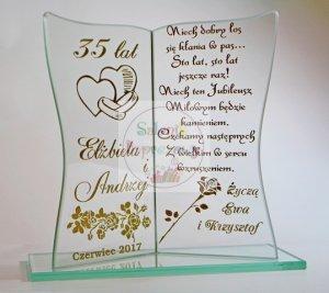 Statuetka książka grawerowana prezent na Rocznicę Ślubu 25, 50 Jubileusz