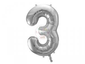 Balon foliowy  86 cm srebrny cyfra 3