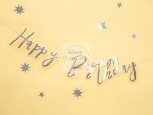 Baner HAPPY BIRTHDAY srebrny 16,5 x 62 cm
