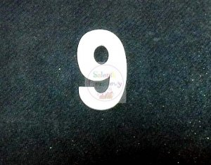 Cyferka drewniana biała 9 - 1szt