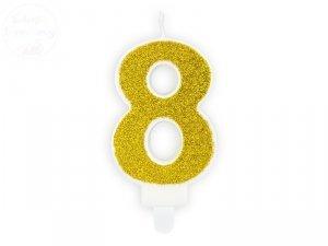Świeczka urodzinowa cyferka 8 złota z brokatem