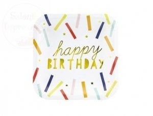 Talerzyki Happy Birthday 20 x 20cm 6 szt