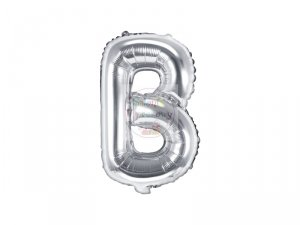 Balon foliowy Litera B 35 cm srebrny