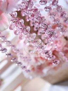 Girlanda kryształowa jasnoróżowa długość 1m
