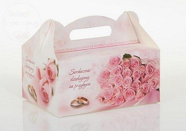 Pudełko na ciasto weselne w różowe róże CS02
