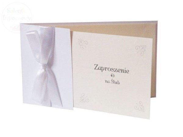 Zaproszenie Ślubne białe z kokardką 1szt ZP49