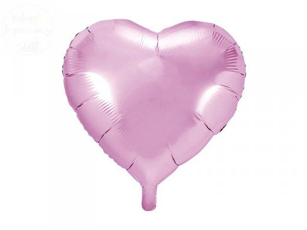 Balon foliowy serce 45 cm jasny róż
