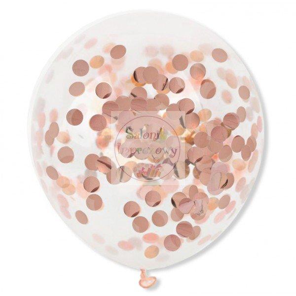 Balony przeźroczyste z konfetti rose gold