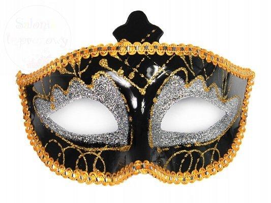 Maska na karnawał czarno-srebrna