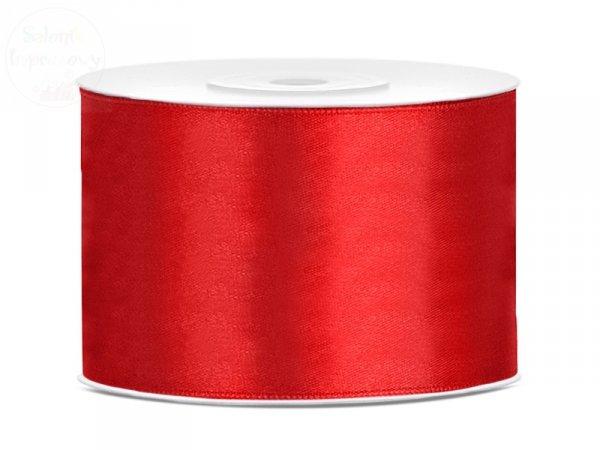 Tasiemka satynowa czerwona 50mm / 25 m