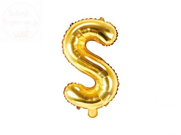 """Balon foliowy Litera """"S"""" 35 cm złoty"""