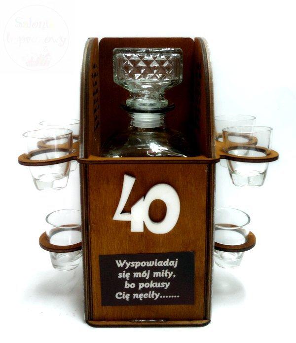 Karafka Konfesjonał na 40 urodziny + 6 kieliszków