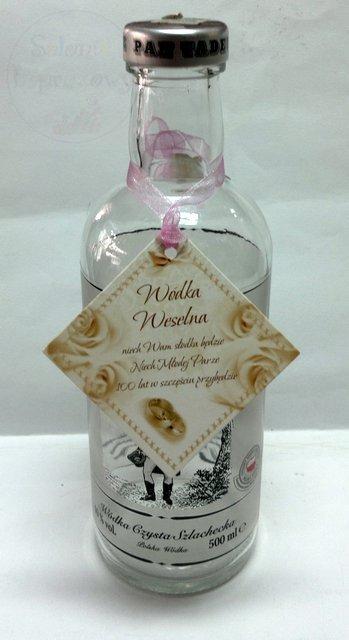 Zawieszki na wódkę weselną z różową tasiemką