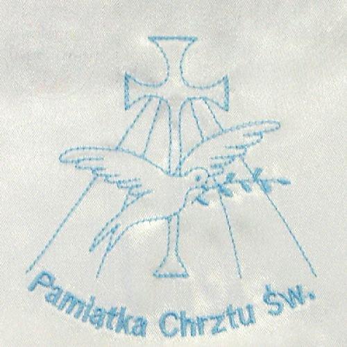 Szatka pelerynka do chrztu z niebieskim haftem 1sz
