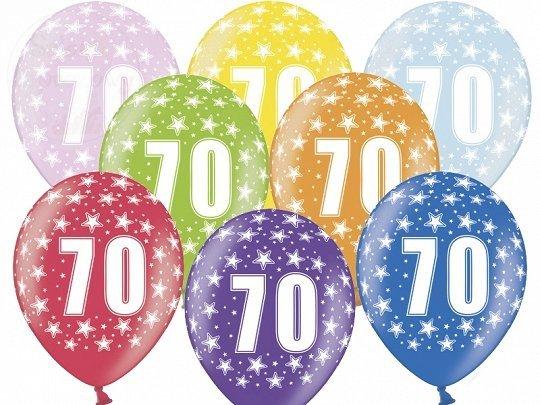 Balony metalik 30 cm - 70 urodziny mix kolor 1szt
