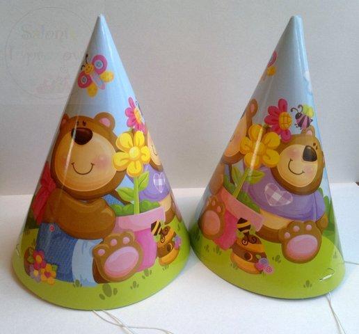 """Czapeczki urodzinowe """"Misie"""" 1 szt"""
