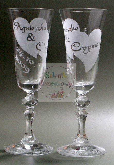 Kieliszki do szampana z grawerem na ślub w białym pudełku