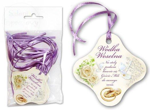 Zawieszki na wódkę weselną fioletowa tasiemka 20sz
