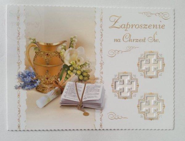Zaproszeniena na chrzest z brokatem 1szt