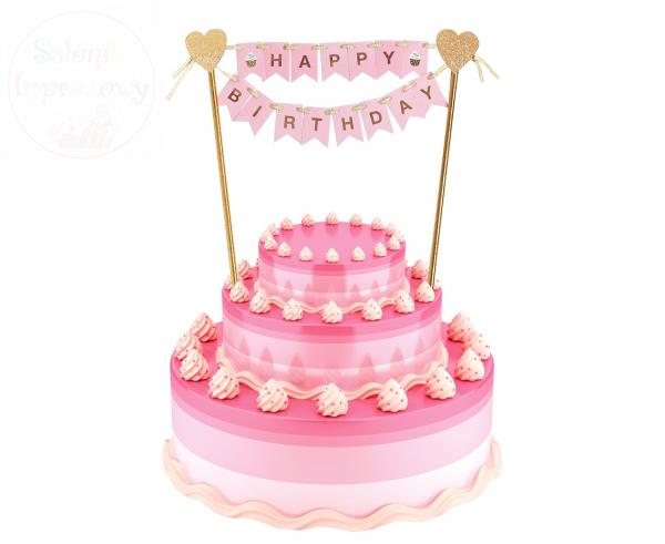 Topper na tort jasnoróżowy Happy Birthday