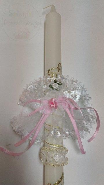 Stroik do świecy z tiulu z różowym wykończeniem