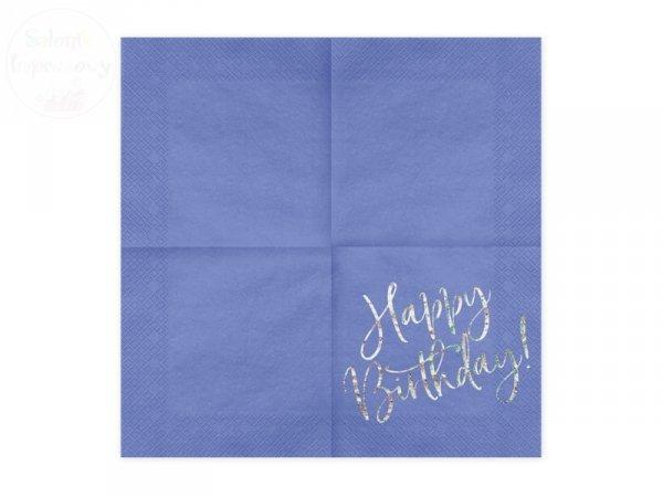 Serwetki stołowe granatowe Happy Birthday 20szt