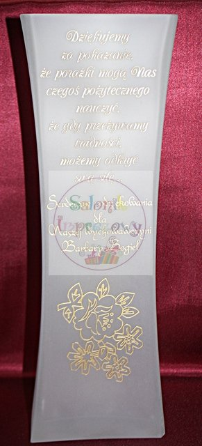 Wazon ALF ze złotym grawerem prezent dla nauczyciela, wychowacy