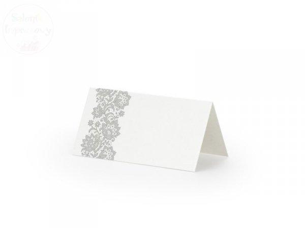 Wizytówki na stół ze srebrnym ornamentem WS44