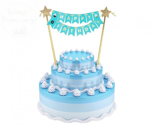 Topper na tort błękitny Happy Birthday