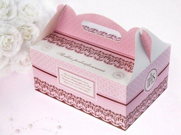 Pudełko ozdobne na ciasto komunijne różowe 1 szt