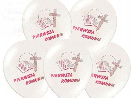 Balony komunijne z rózowym nadrukiem - 1szt