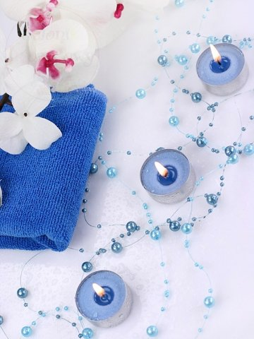 Girlanda perłowa stalowy błękit 1,3m 5szt GP22
