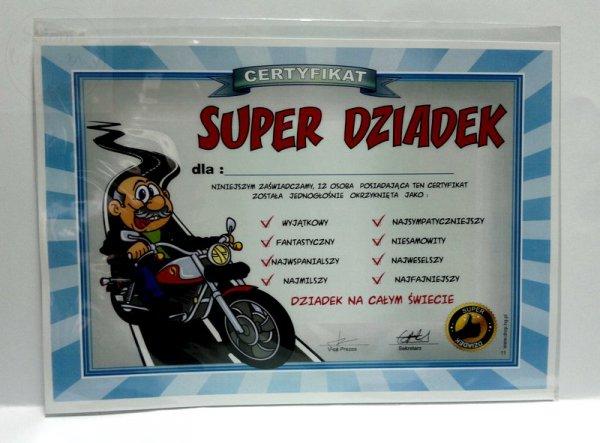 """Certyfikat, dyplom dla SUPER DZIADEK """"MOTOCYKL"""""""