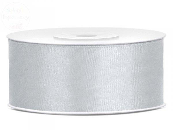 Tasiemka satynowa srebrna 25mm/25m