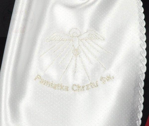 Szatka do chrztu z haftem srebrnym lub złotym